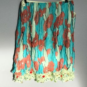 Lapis Silk Skirt with Separate Sequinned Slip SZXL